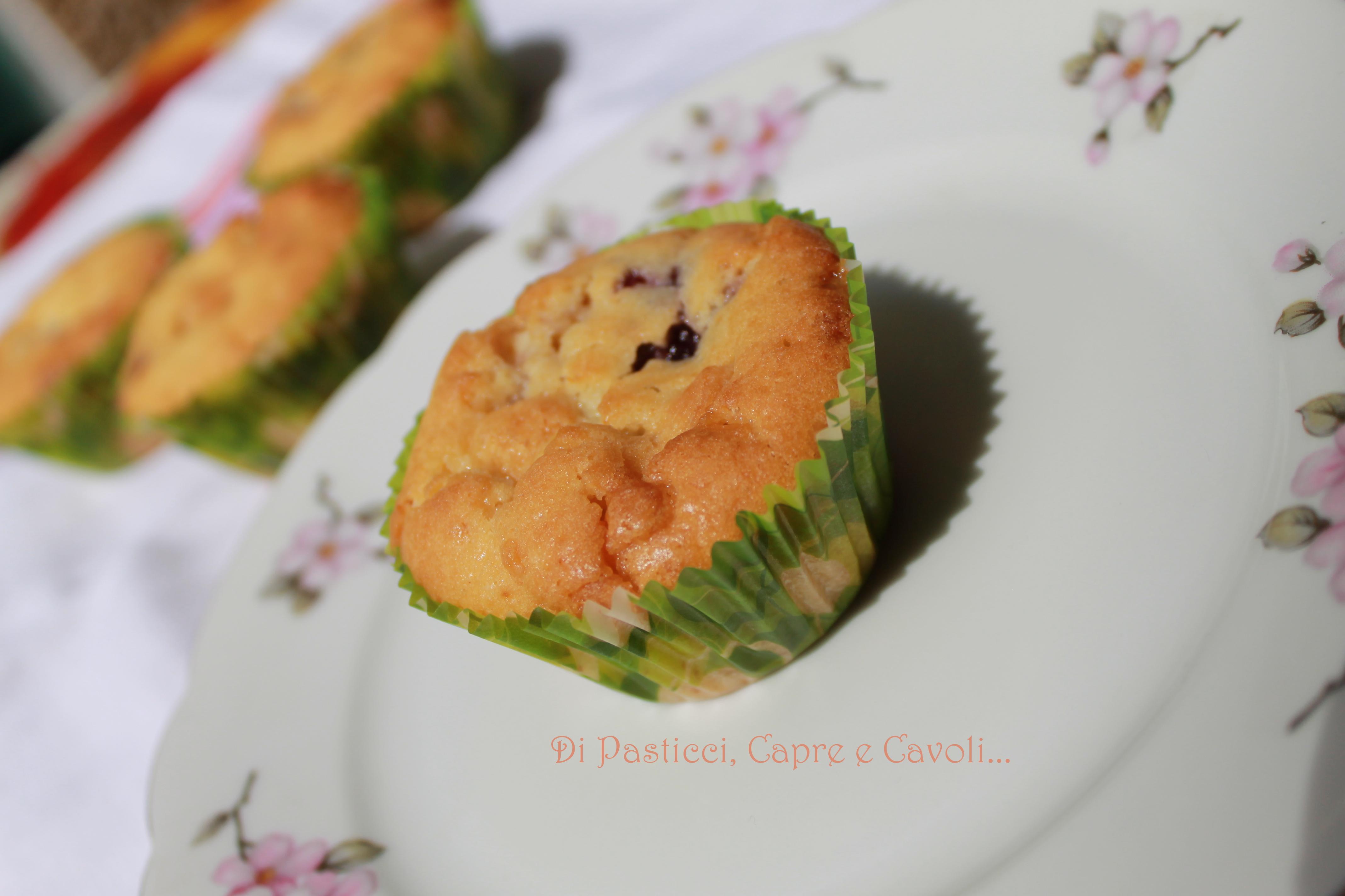 Muffin al Cioccolato Bianco con Marmellata di More